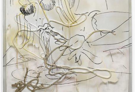 """Das Bild """"Noodles"""" von Seth Price zeigt eine stilisierte Person beim Spaghetti essen"""